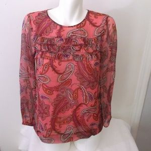 J Crew Pink Paisley Silk Ruffle Blouse 00 Lined